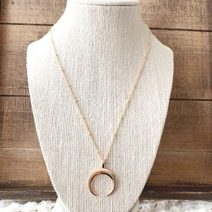 Pink Double horned rose gold necklace